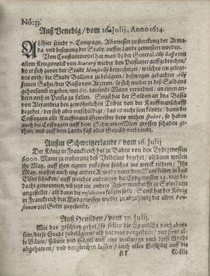 Zeitung so im ... Jahr von Wochen zu Wochen colligirt und zusammen getragen worden vom 26.08.1624