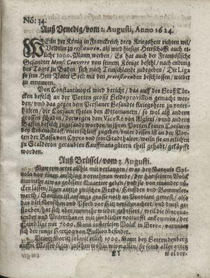 Zeitung so im ... Jahr von Wochen zu Wochen colligirt und zusammen getragen worden vom 02.09.1624