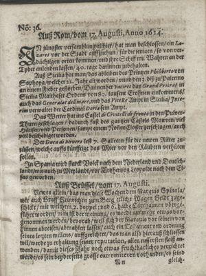 Zeitung so im ... Jahr von Wochen zu Wochen colligirt und zusammen getragen worden vom 16.09.1624