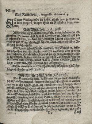 Zeitung so im ... Jahr von Wochen zu Wochen colligirt und zusammen getragen worden on Sep 30, 1624