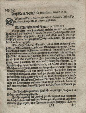 Zeitung so im ... Jahr von Wochen zu Wochen colligirt und zusammen getragen worden on Oct 7, 1624