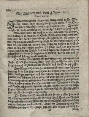 Zeitung so im ... Jahr von Wochen zu Wochen colligirt und zusammen getragen worden vom 14.10.1624