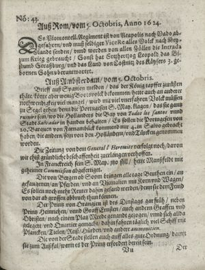 Zeitung so im ... Jahr von Wochen zu Wochen colligirt und zusammen getragen worden on Nov 4, 1624