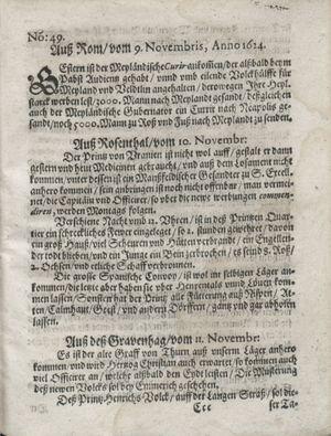 Zeitung so im ... Jahr von Wochen zu Wochen colligirt und zusammen getragen worden vom 16.12.1624