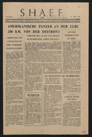 Supreme Headquarters Allied Expeditionary Force vom 12.04.1945