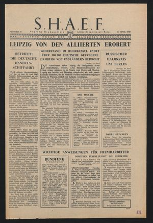 Supreme Headquarters Allied Expeditionary Force vom 20.04.1945