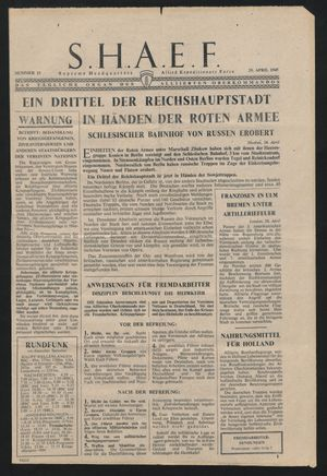 Supreme Headquarters Allied Expeditionary Force vom 25.04.1945