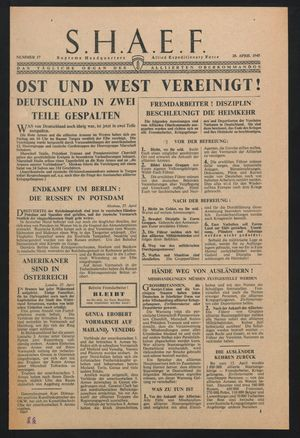 Supreme Headquarters Allied Expeditionary Force vom 28.04.1945