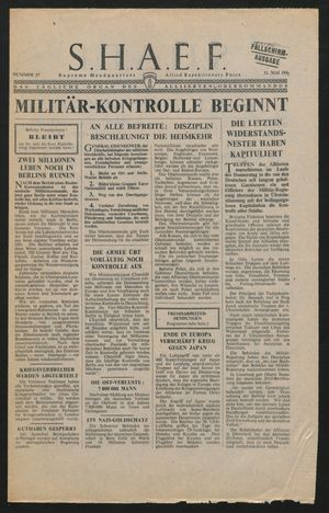 Supreme Headquarters Allied Expeditionary Force vom 11.05.1945