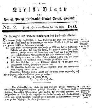 Kreisblatt des Königl. Preuss. Landraths-Amtes Preuss. Holland vom 18.03.1833