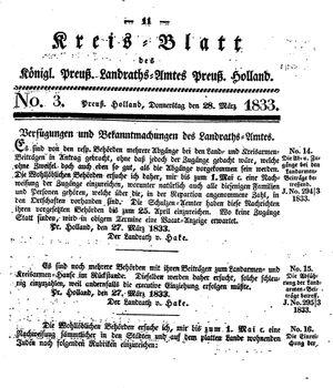 Kreisblatt des Königl. Preuss. Landraths-Amtes Preuss. Holland vom 28.03.1833