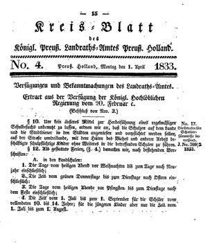 Kreisblatt des Königl. Preuss. Landraths-Amtes Preuss. Holland vom 01.04.1833