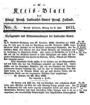 Kreisblatt des Königl. Preuss. Landraths-Amtes Preuss. Holland vom 08.04.1833