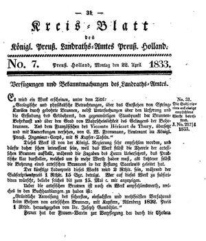 Kreisblatt des Königl. Preuss. Landraths-Amtes Preuss. Holland vom 22.04.1833