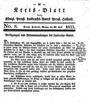 Kreisblatt des Königl. Preuss. Landraths-Amtes Preuss. Holland on Apr 29, 1833