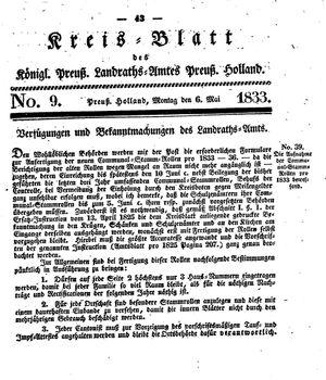 Kreisblatt des Königl. Preuss. Landraths-Amtes Preuss. Holland vom 06.05.1833
