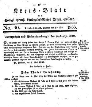 Kreisblatt des Königl. Preuss. Landraths-Amtes Preuss. Holland vom 13.05.1833