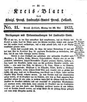 Kreisblatt des Königl. Preuss. Landraths-Amtes Preuss. Holland vom 20.05.1833