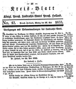 Kreisblatt des Königl. Preuss. Landraths-Amtes Preuss. Holland vom 27.05.1833