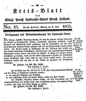 Kreisblatt des Königl. Preuss. Landraths-Amtes Preuss. Holland vom 03.06.1833