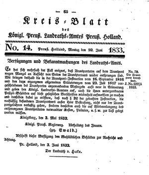 Kreisblatt des Königl. Preuss. Landraths-Amtes Preuss. Holland vom 10.06.1833