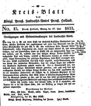 Kreisblatt des Königl. Preuss. Landraths-Amtes Preuss. Holland vom 17.06.1833