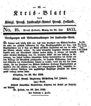 Kreisblatt des Königl. Preuss. Landraths-Amtes Preuss. Holland vom 24.06.1833