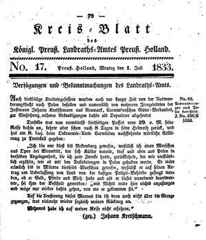 Kreisblatt des Königl. Preuss. Landraths-Amtes Preuss. Holland vom 01.07.1833