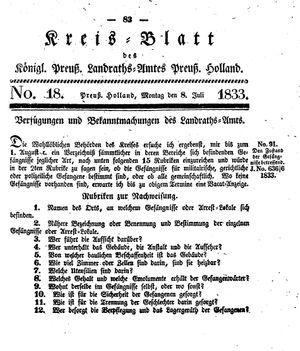 Kreisblatt des Königl. Preuss. Landraths-Amtes Preuss. Holland vom 08.07.1833