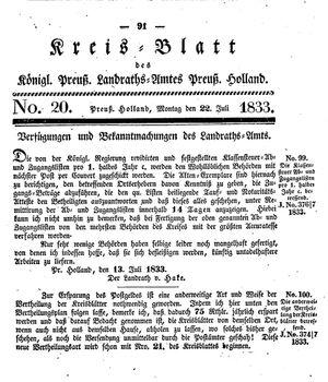 Kreisblatt des Königl. Preuss. Landraths-Amtes Preuss. Holland vom 22.07.1833