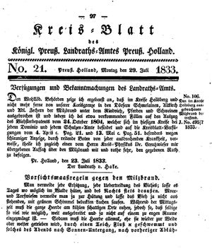 Kreisblatt des Königl. Preuss. Landraths-Amtes Preuss. Holland vom 29.07.1833