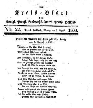 Kreisblatt des Königl. Preuss. Landraths-Amtes Preuss. Holland vom 05.08.1833