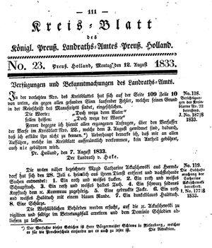 Kreisblatt des Königl. Preuss. Landraths-Amtes Preuss. Holland vom 12.08.1833
