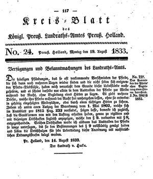 Kreisblatt des Königl. Preuss. Landraths-Amtes Preuss. Holland vom 19.08.1833