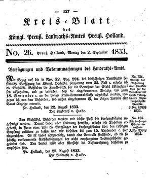 Kreisblatt des Königl. Preuss. Landraths-Amtes Preuss. Holland vom 02.09.1833