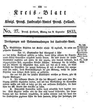 Kreisblatt des Königl. Preuss. Landraths-Amtes Preuss. Holland vom 09.09.1833