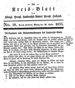 Kreisblatt des Königl. Preuss. Landraths-Amtes Preuss. Holland vom 16.09.1833