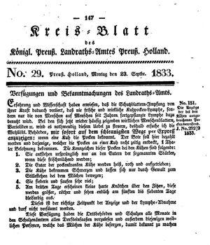 Kreisblatt des Königl. Preuss. Landraths-Amtes Preuss. Holland vom 23.09.1833