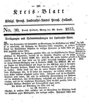 Kreisblatt des Königl. Preuss. Landraths-Amtes Preuss. Holland vom 30.09.1833