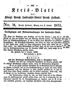 Kreisblatt des Königl. Preuss. Landraths-Amtes Preuss. Holland vom 07.10.1833