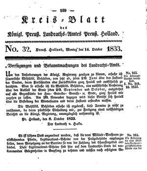Kreisblatt des Königl. Preuss. Landraths-Amtes Preuss. Holland vom 14.10.1833