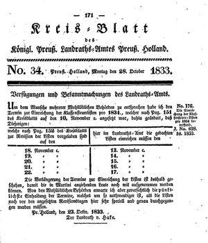 Kreisblatt des Königl. Preuss. Landraths-Amtes Preuss. Holland vom 28.10.1833