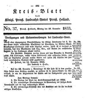 Kreisblatt des Königl. Preuss. Landraths-Amtes Preuss. Holland vom 18.11.1833