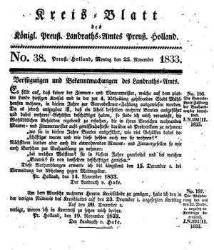 Kreisblatt des Königl. Preuss. Landraths-Amtes Preuss. Holland vom 25.11.1833