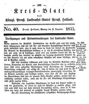 Kreisblatt des Königl. Preuss. Landraths-Amtes Preuss. Holland vom 09.12.1833