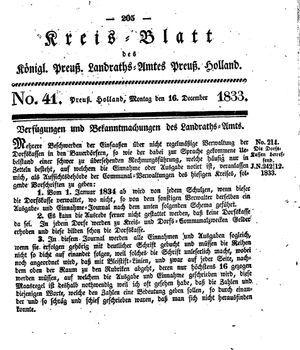 Kreisblatt des Königl. Preuss. Landraths-Amtes Preuss. Holland on Dec 16, 1833