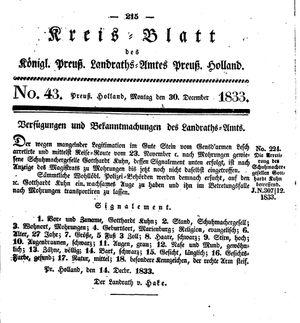 Kreisblatt des Königl. Preuss. Landraths-Amtes Preuss. Holland vom 30.12.1833
