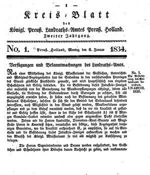 Kreisblatt des Königl. Preuss. Landraths-Amtes Preuss. Holland vom 06.01.1834
