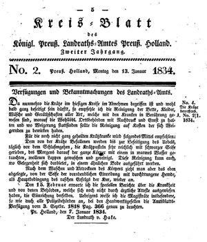 Kreisblatt des Königl. Preuss. Landraths-Amtes Preuss. Holland on Jan 13, 1834