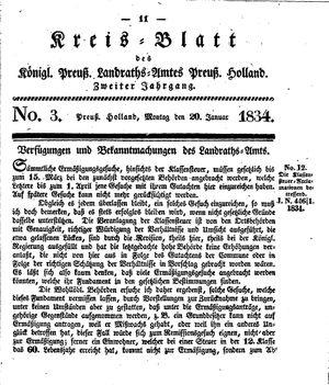 Kreisblatt des Königl. Preuss. Landraths-Amtes Preuss. Holland vom 20.01.1834
